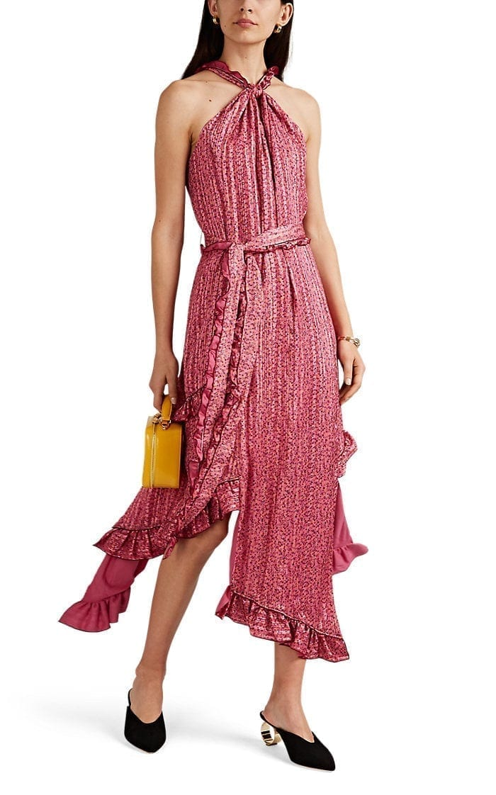 DEREK LAM 10 CROSBY Striped Floral Crepe Halter Pink Dress