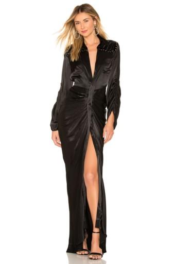 DIVINE HERITAGE Velvet Yolk Shirt Onyx Dress