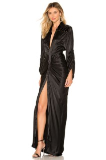 DIVINE HERITAGE Velvet Yolk Shirt Onyx Dress