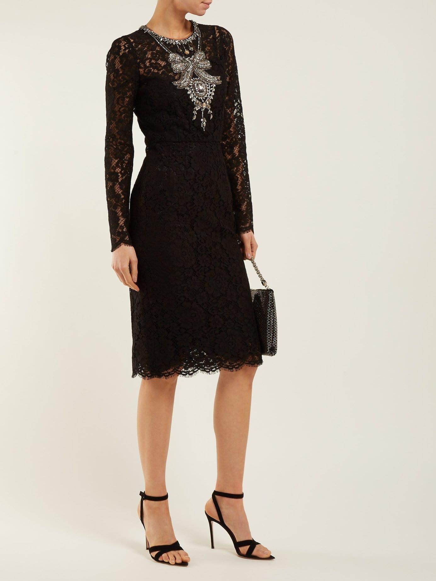 DOLCE & GABBANA Crystal Embellished Guipure Lace Black Dress