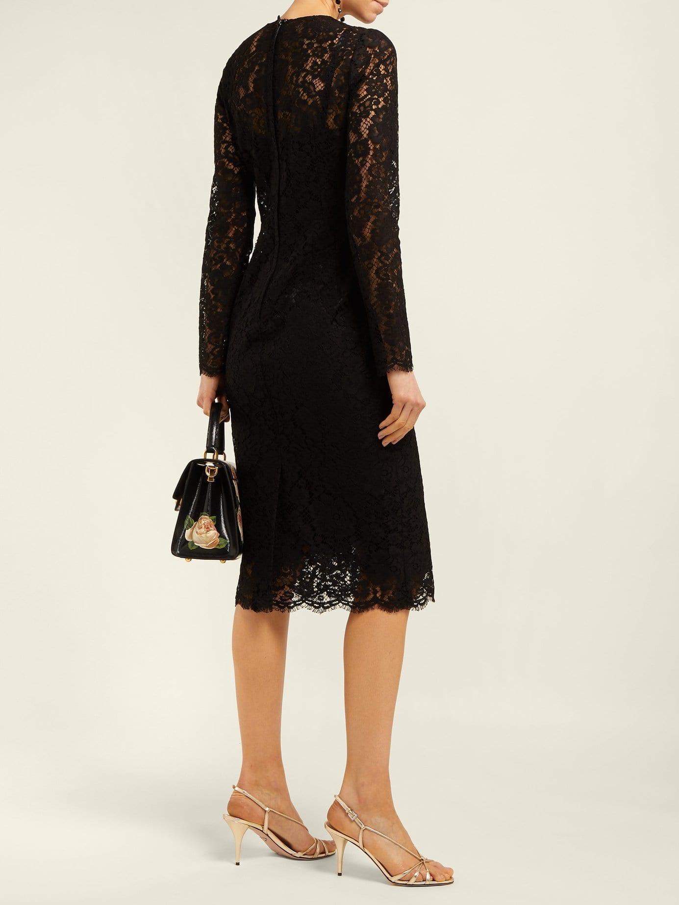 7ea65a4c568d DOLCE & GABBANA Floral And Eyelash-lace Midi Black Dress - We Select ...