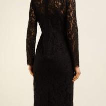 10a68d7f0b DOLCE   GABBANA Floral And Eyelash-lace Midi Black Dress - We Select ...
