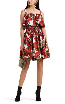 DOLCE & GABBANA Floral Cotton Poplin Tiered Off-the-shoulder Multi / Floral Printed Dress