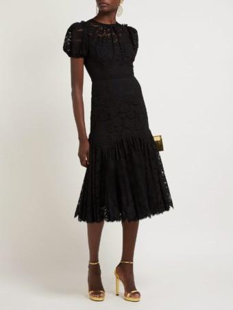 DOLCE & GABBANA Floral-lace Gathered Midi Black Dress