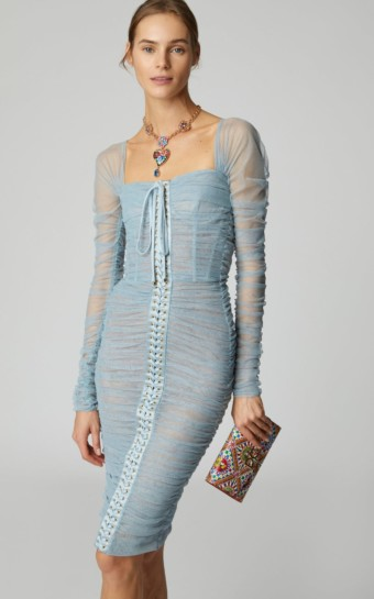 DOLCE & GABBANA Lace-Up Tulle Blue Dress