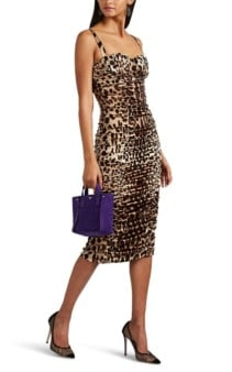 DOLCE & GABBANA Leopard-Print Ruched Stretch-Silk Brown Dress