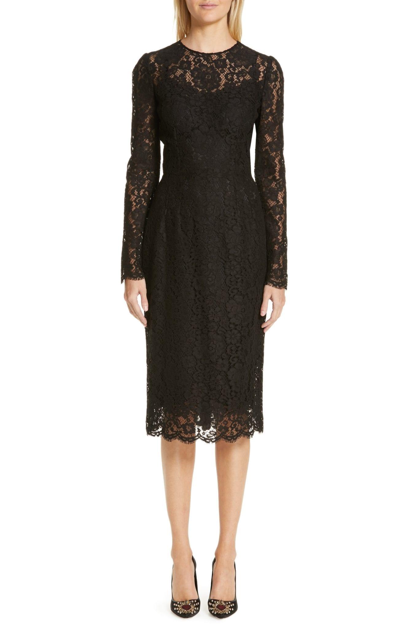 DOLCE&GABBANA Lace Pencil Black Dress