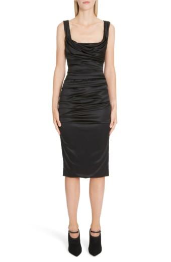 DOLCE&GABBANA Ruched Stretch Silk Satin Body-Con Black Dress