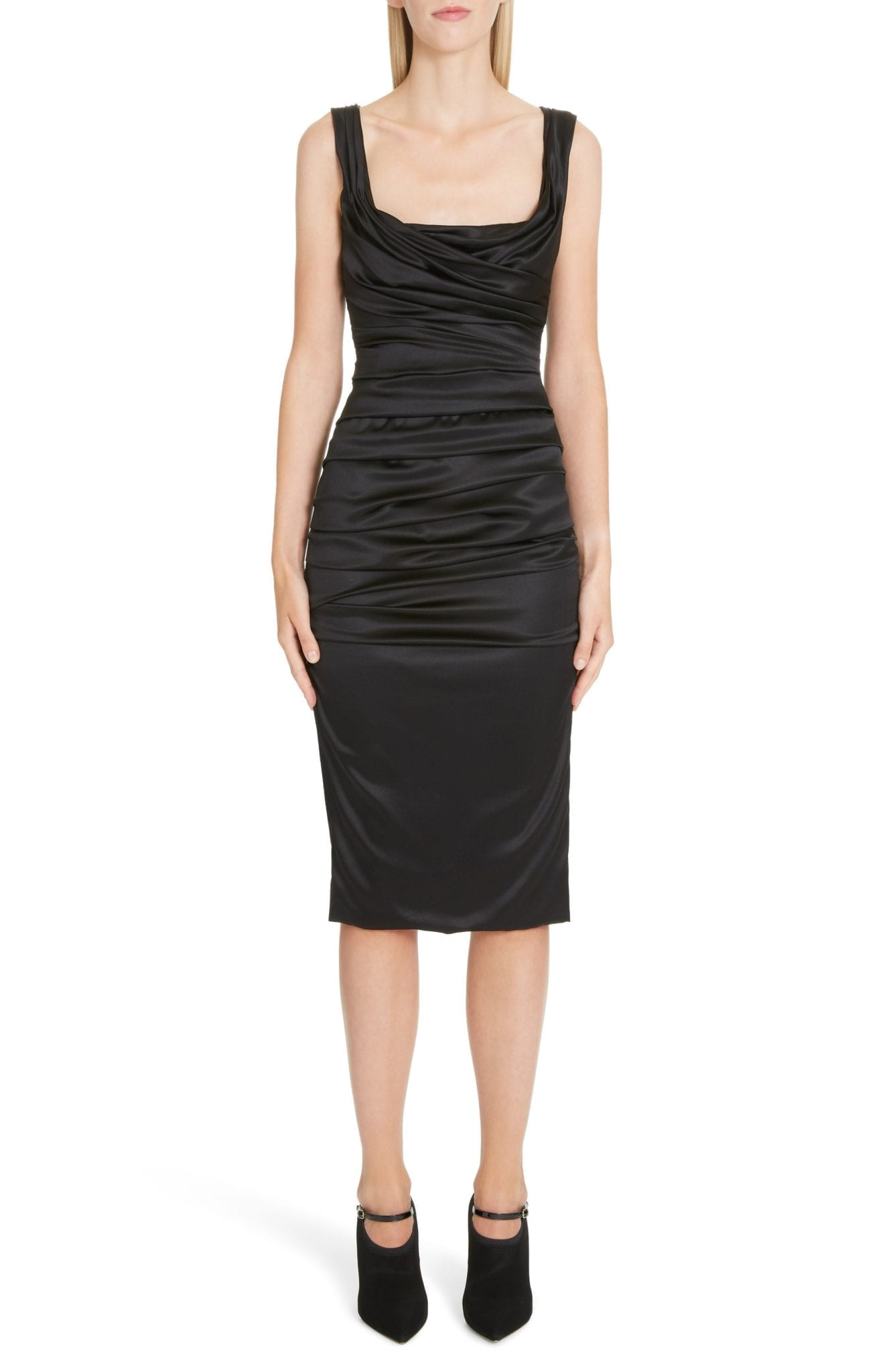 DOLCE&GABBANA Ruched Stretch Silk Satin Body-Con Black Dress