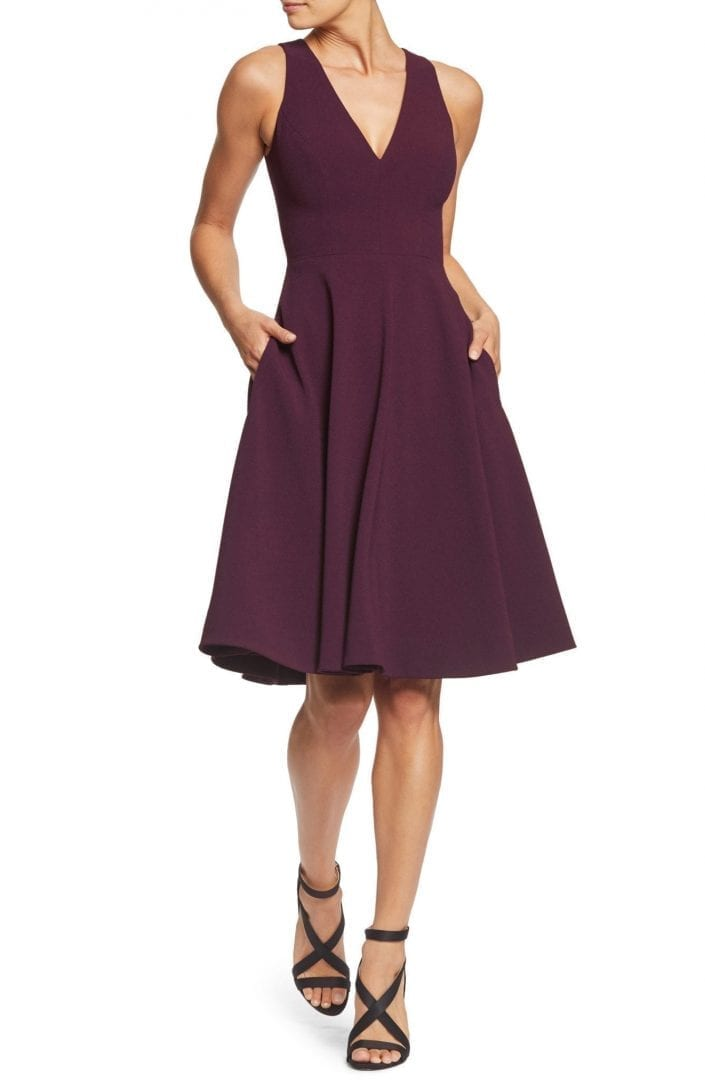 7b63e12d302e DRESS THE POPULATION Catalina Tea Length Fit   Flare Plum Dress - We ...