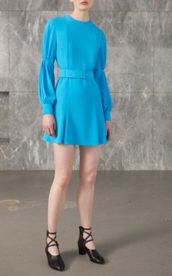 EMILIA WICKSTEAD Philippa Long-Sleeve Mini Blue Dress