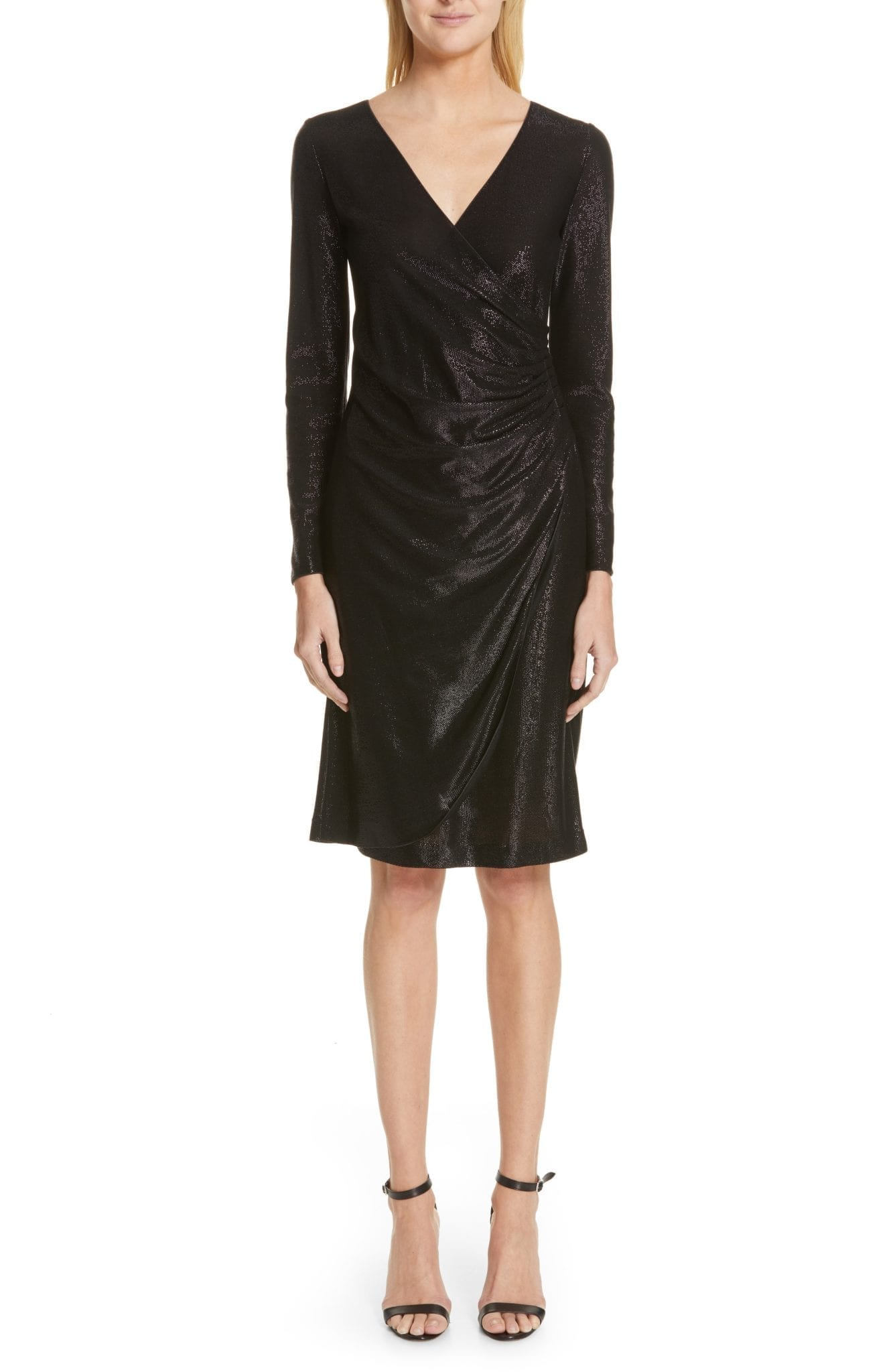 EMPORIO ARMANI Metallic Surplice Nero Dress