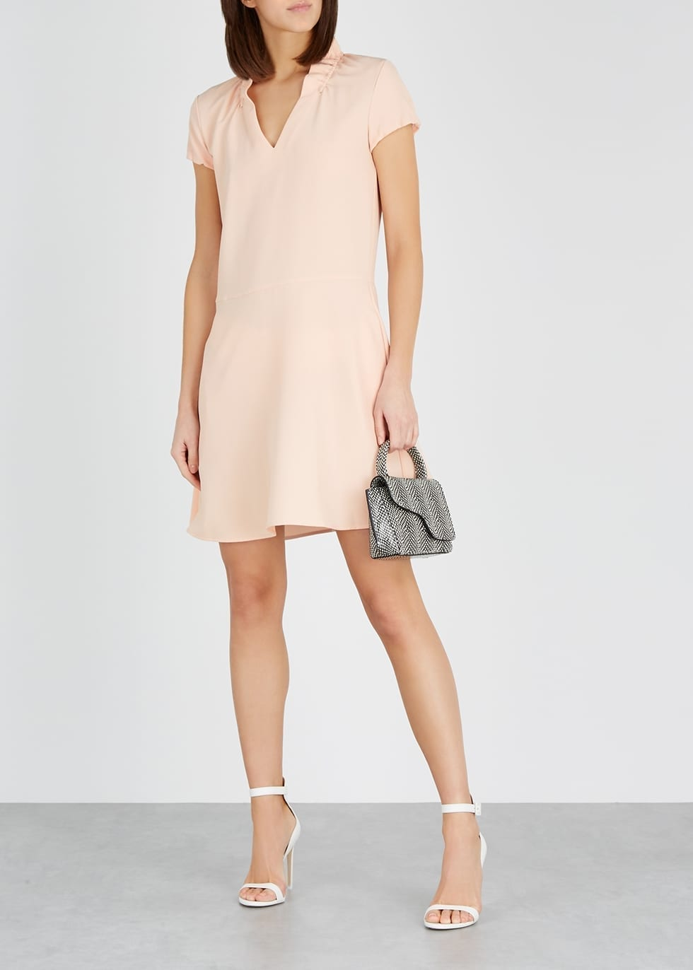 EMPORIO ARMANI Ruched Crepe Blush Dress