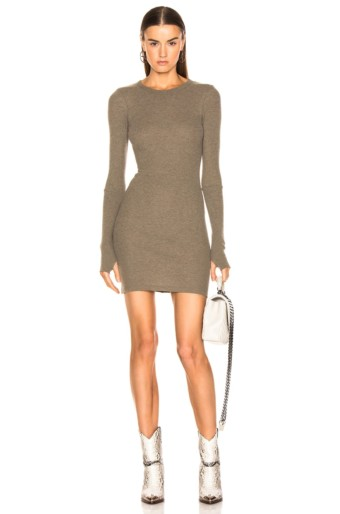 ENZA COSTA Cashmere Thermal Long Sleeve Crew Mini Pebble Dress