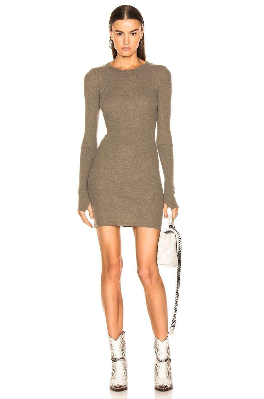 ENZA COSTA Cashmere Thermal Long Sleeve Crew Mini Pebble Dress