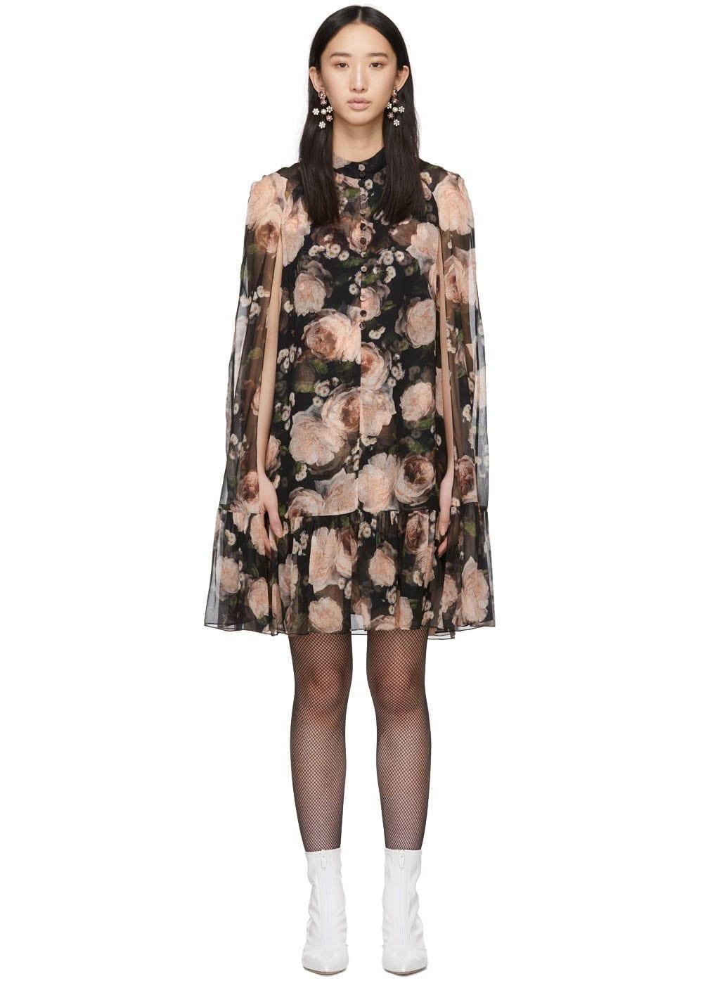 ERDEM Constantine Cape Black / Pink Dress