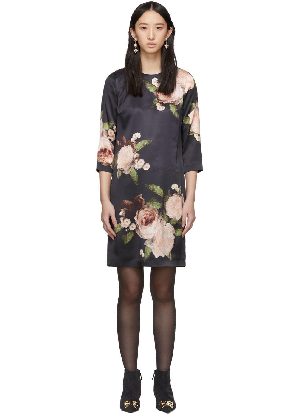 ERDEM Silk Satin Emma Black / Pink Dress