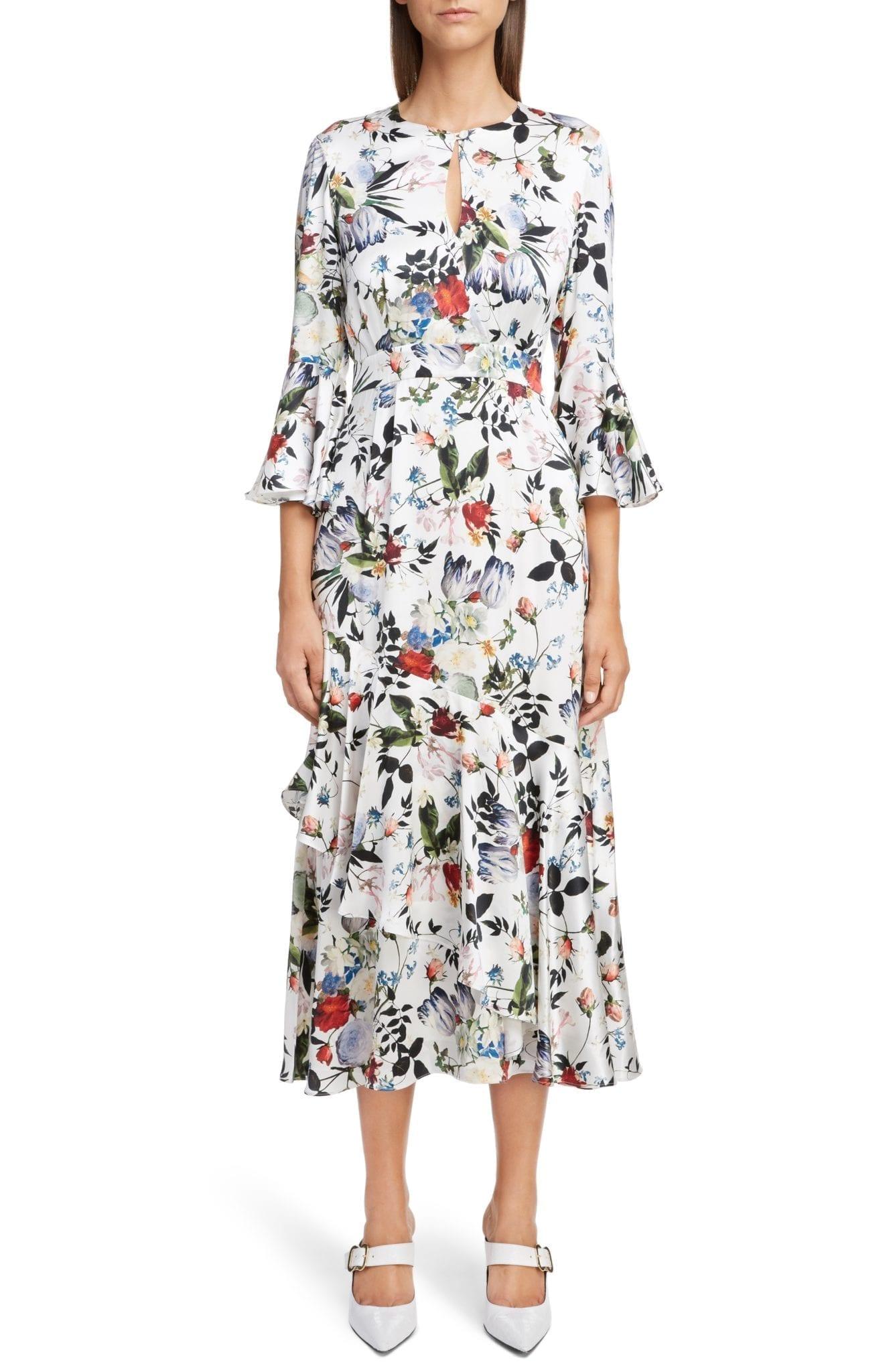 ERDEM Silk Satin Frill Midi White / Floral Printed Dress