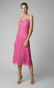 ERMANNO SCERVINO Guipure Lace Midi Tank Pink Dress