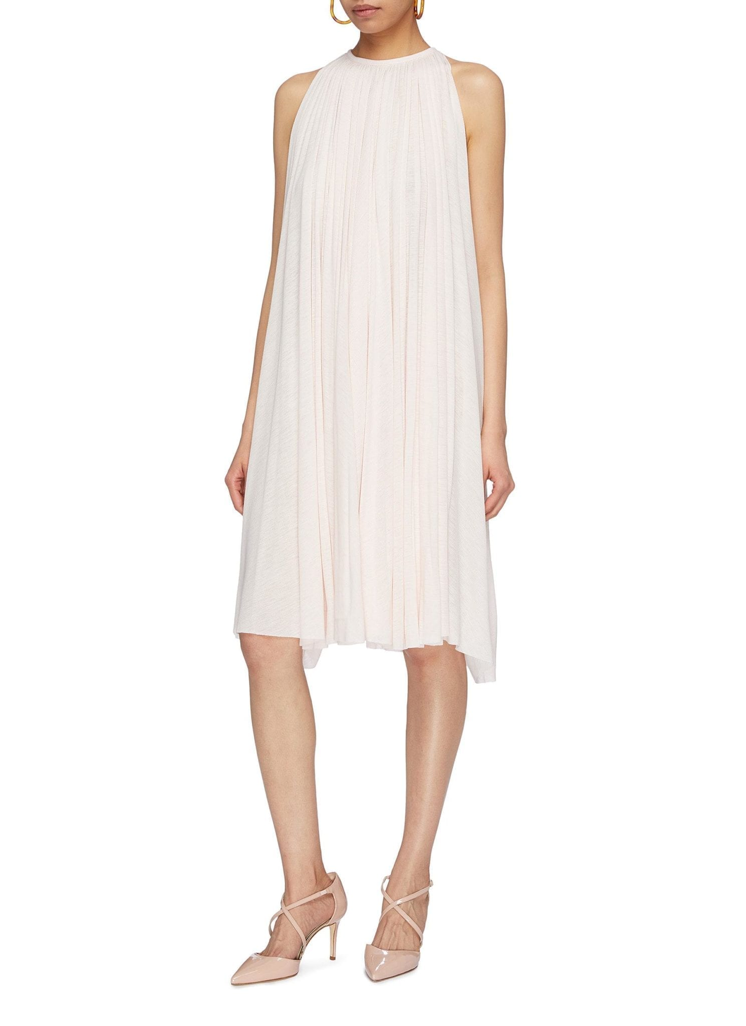ESTEBAN CORTAZAR Pleated Jersey Sleeveless Pale Pink Dress