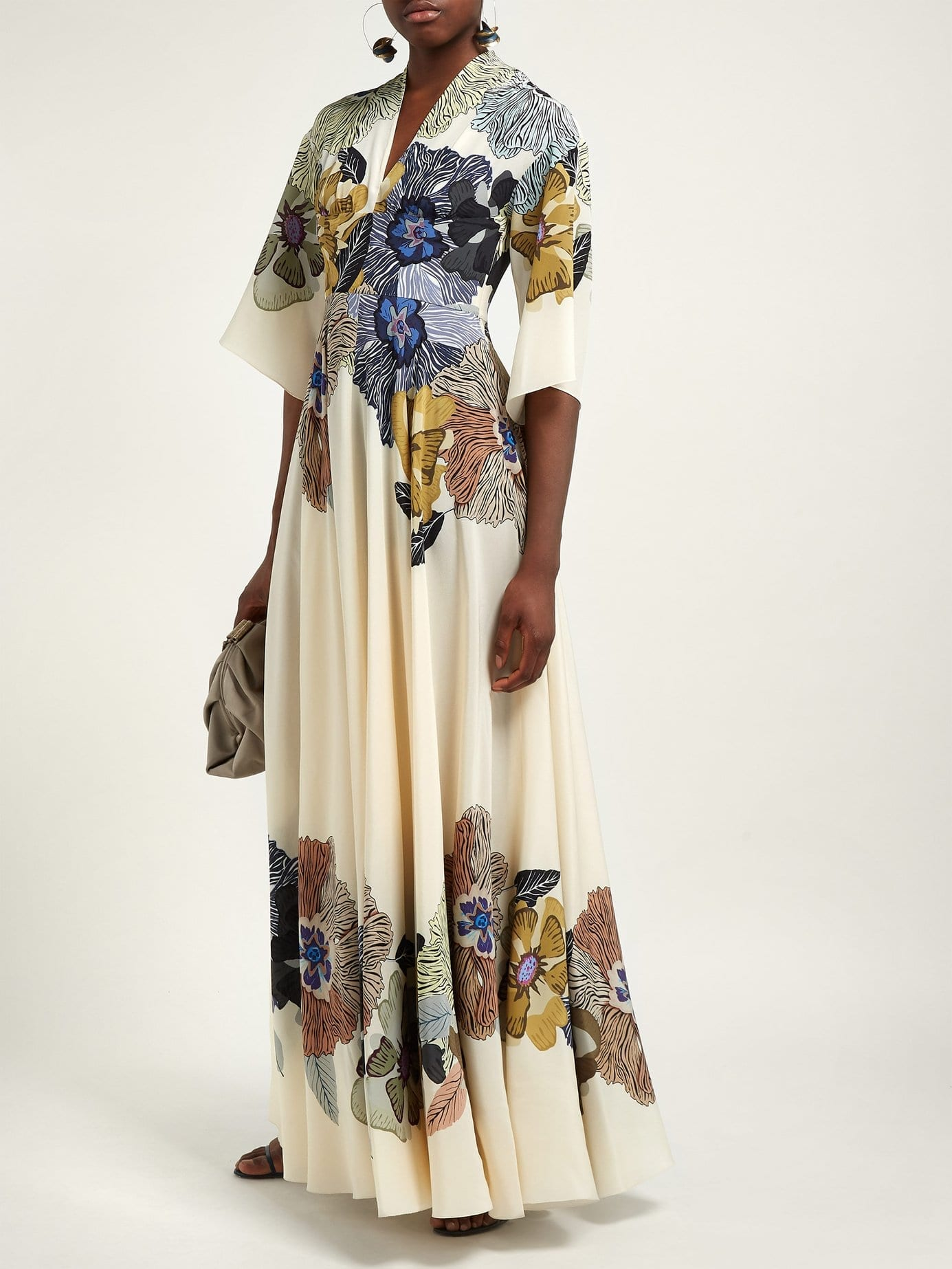 ETRO Envision Silk Crepe De Chine Cream / Floral Printed Gown