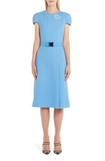 FENDI Genuine Mink Fur Flower Belted Wool Crepe Blue Dress