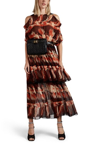 FENDI Parakeet-Pattern Chiffon Midi Burgundy Dress