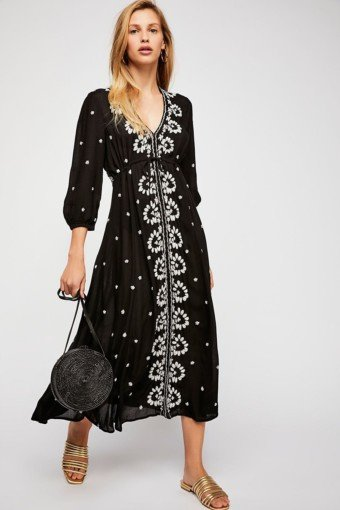 FREEPEOPLE Embroidered Fable Midi Black Dress