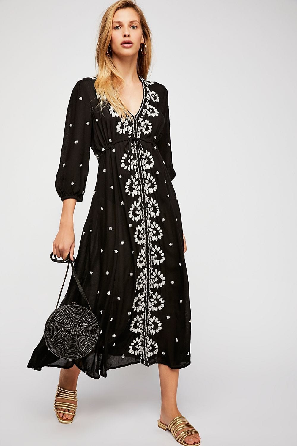 8a91ea1c488 FREEPEOPLE Embroidered Fable Midi Black Dress - We Select Dresses