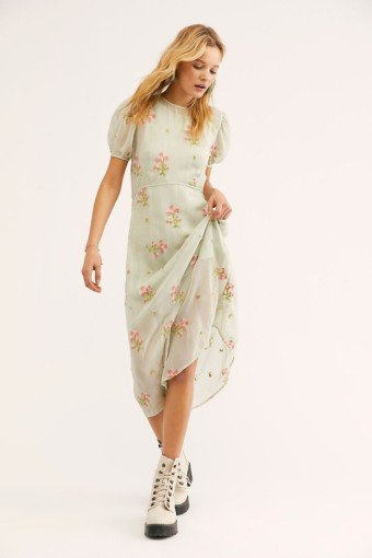 FREEPEOPLE Everything and More Embroidered Midi Minty Dahlia Dress