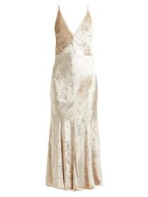 GABRIELA HEARST Bridget Herringbone Velvet Slip Ivory Dress