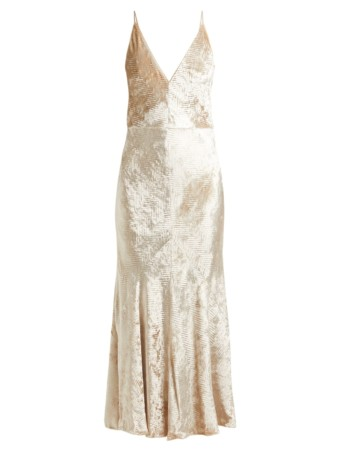 GABRIELA HEARST Bridget Herringbone Velvet Slip Ivory Dress