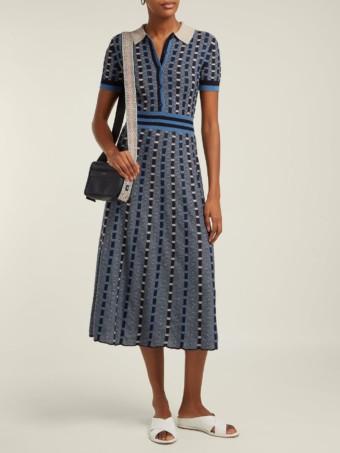 GABRIELA HEARST Elvis Striped Cashmere-blend Midi Blue Dress