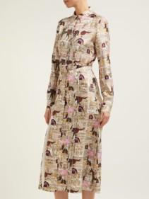 GABRIELA HEARST Jane Equestrian Print Silk Twill Shirt Multicolored Dress