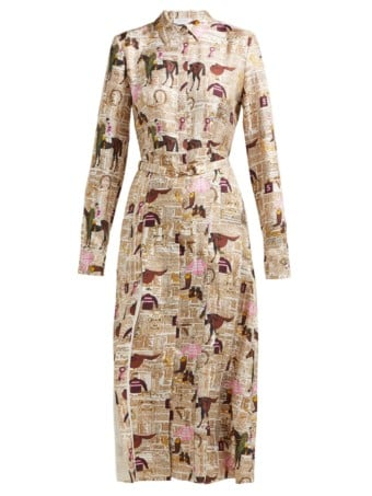 GABRIELA HEARST Jane Equestrian Print Silk Twill Shirt Multicolored Dress