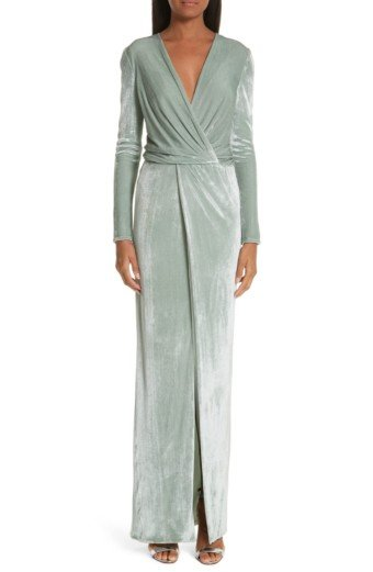 GALVAN Surplice Neck Velvet Mint Gown