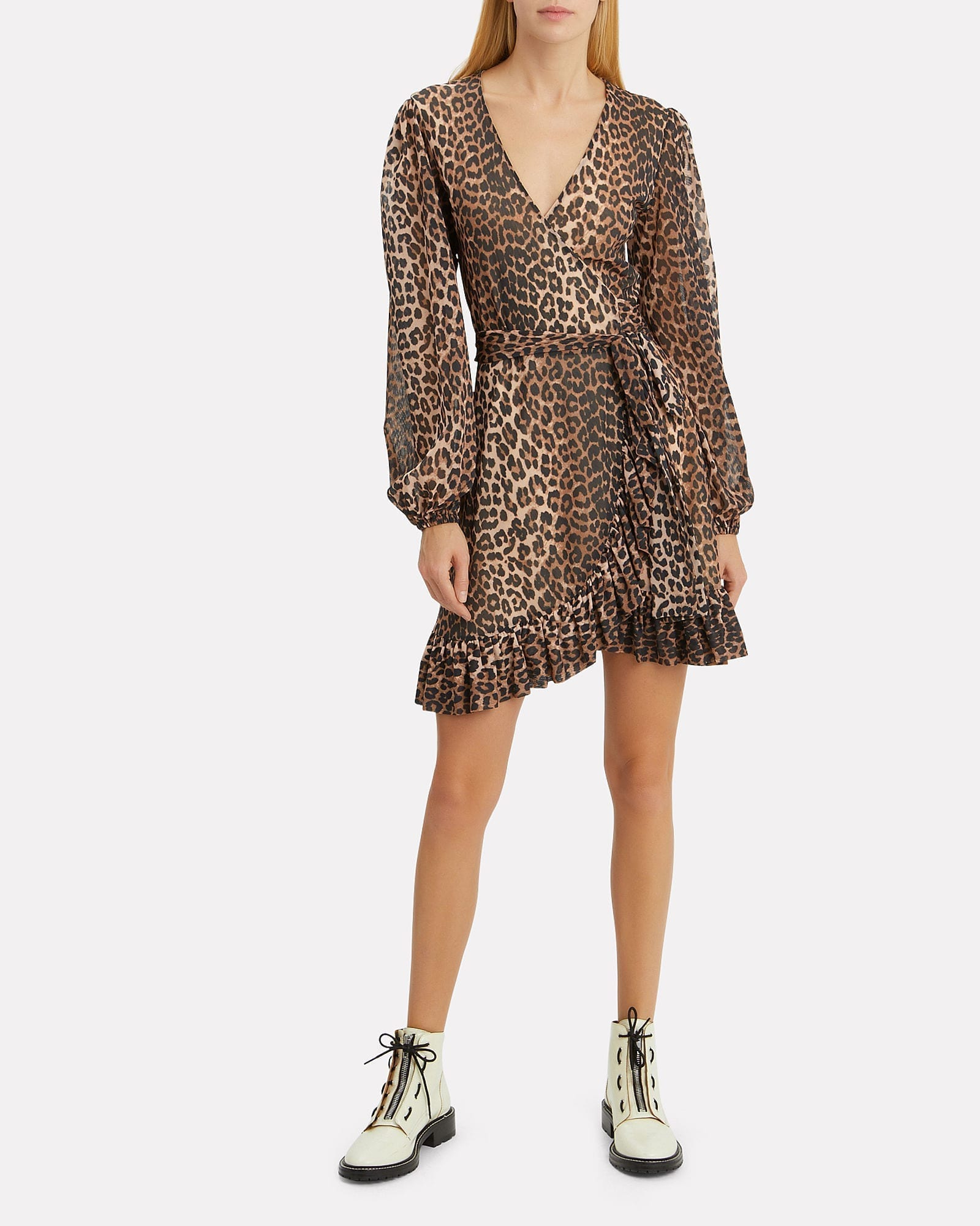 c35319ca GANNI Printed Mesh Leopard Wrap Brown Dress - We Select Dresses