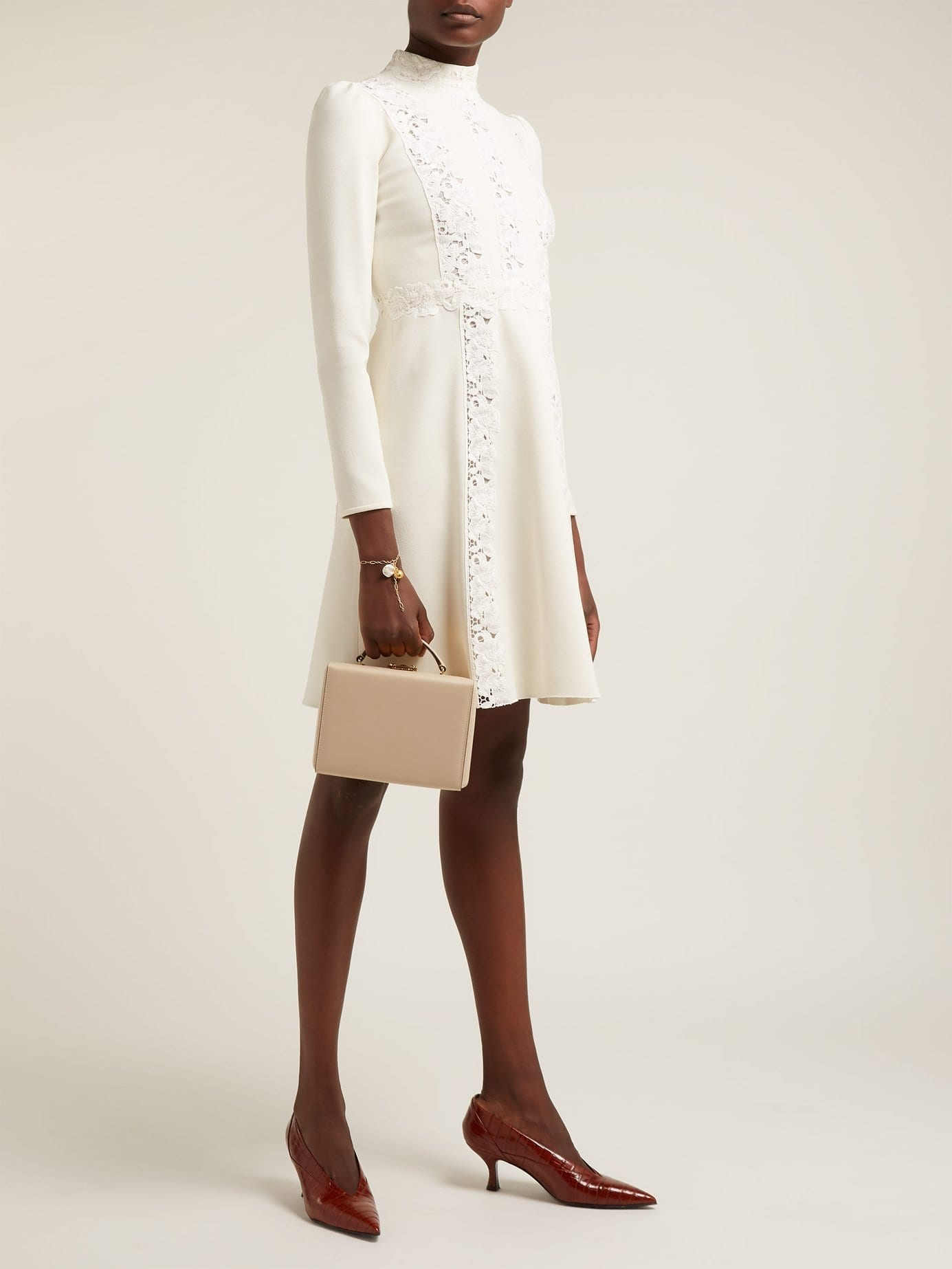 GIAMBATTISTA VALLI Lace Insert Cady White Dress