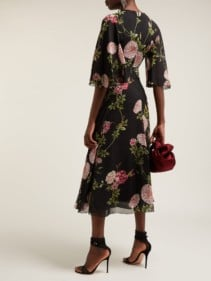 GIAMBATTISTA VALLI Rose-print Silk Black Gown