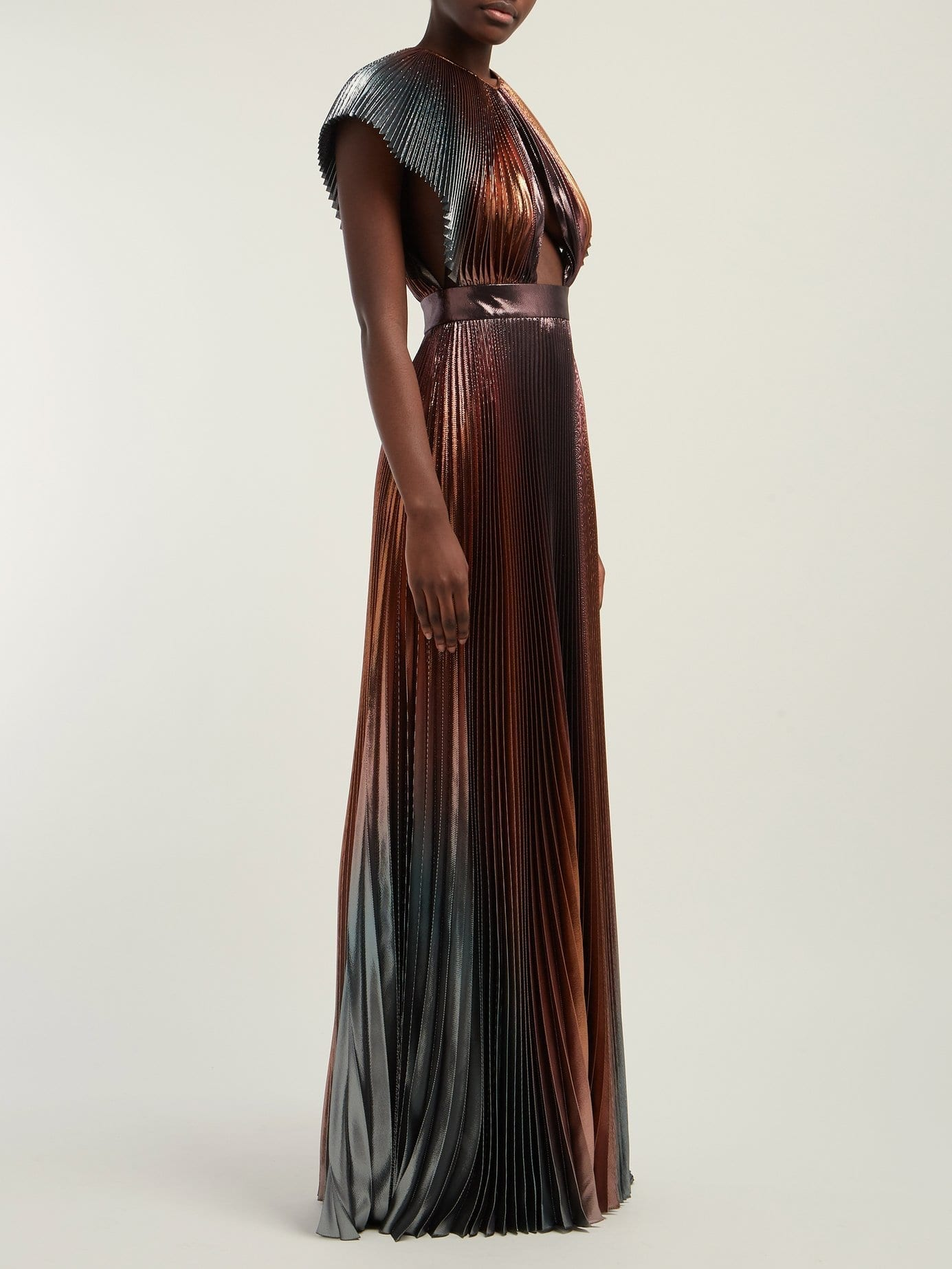 GIVENCHY Metallic Pleated Silk-blend Metallic Bronze Gown