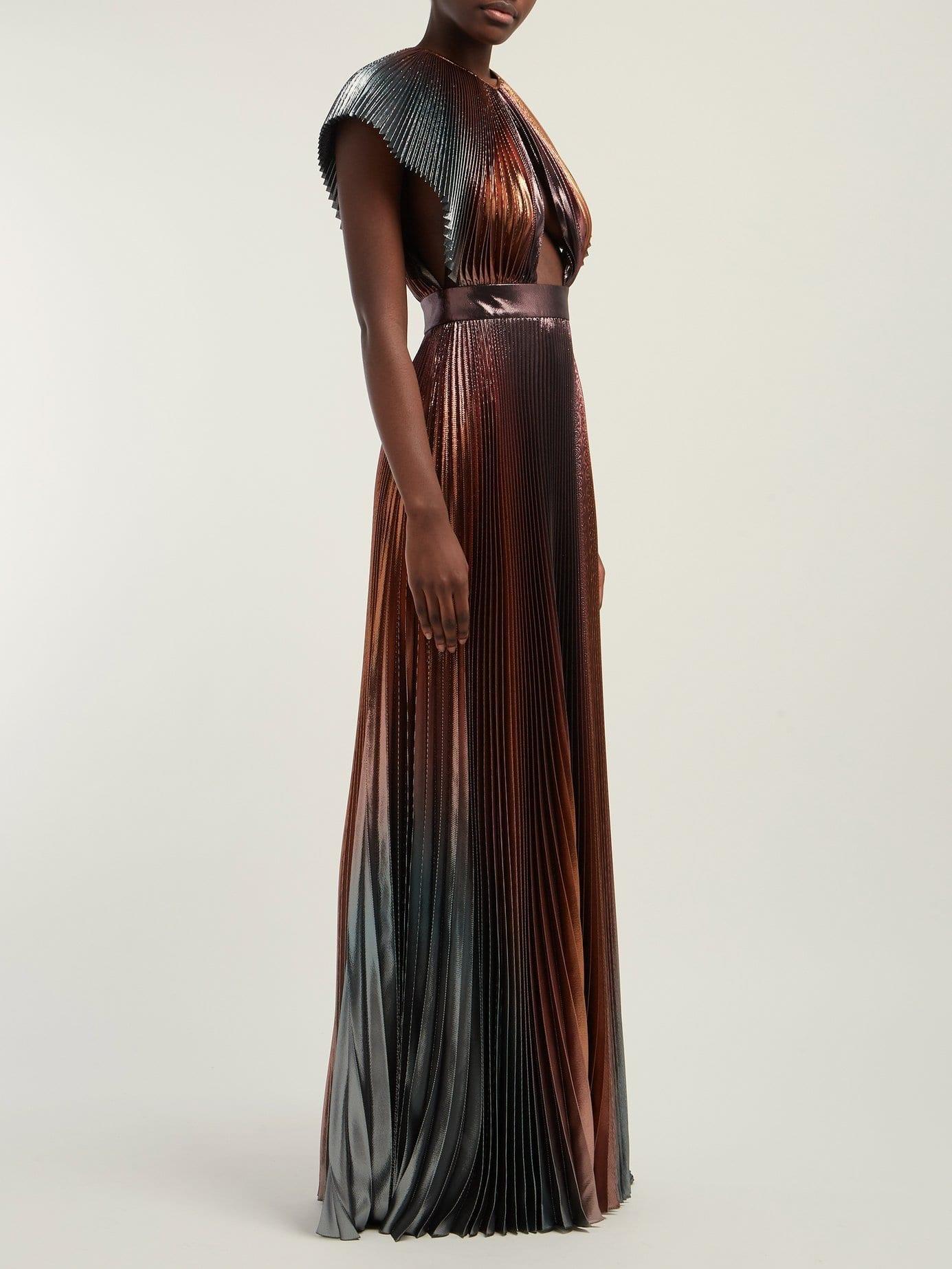 8606883871 GIVENCHY Metallic Pleated Silk-blend Metallic Bronze Gown. GIVENCHY  Metallic Pleated Silk-blend Metallic Bronze Gown