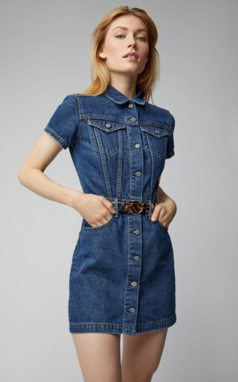 GRLFRND DENIM Max Denim Mini Blue Dress