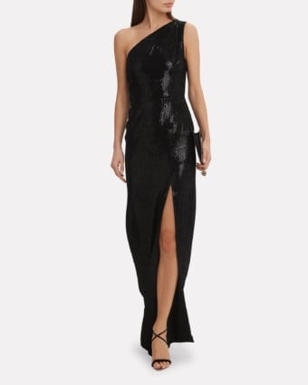 HANEY Zane One Shoulder Sequin Black Gown
