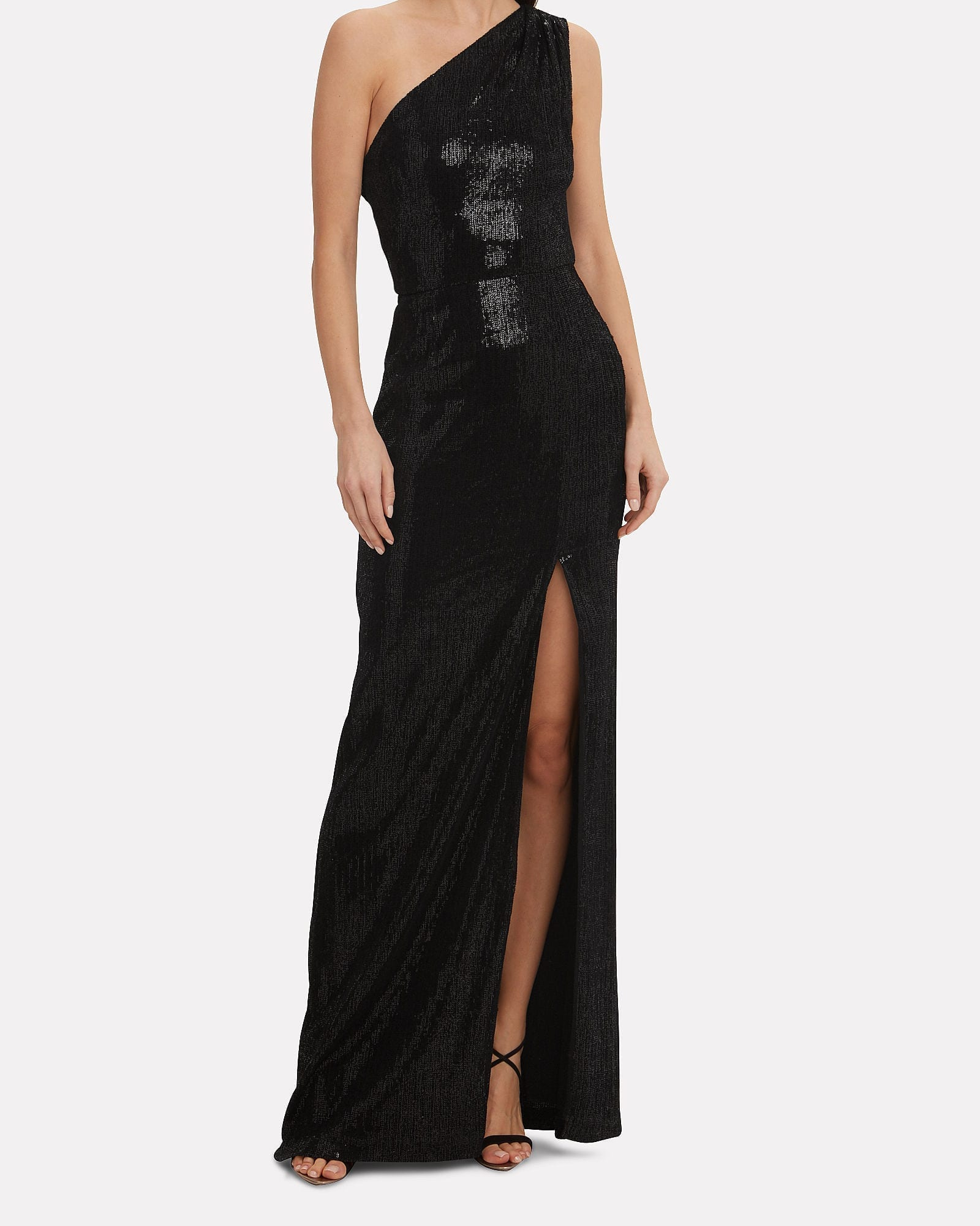 Black One Shoulder Sequin Dress