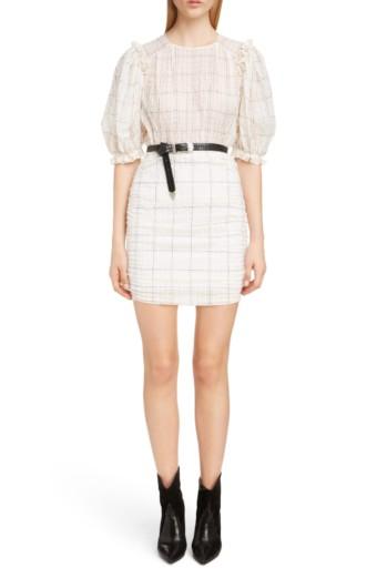 ISABEL MARANT Check Print Organza Ecru Dress