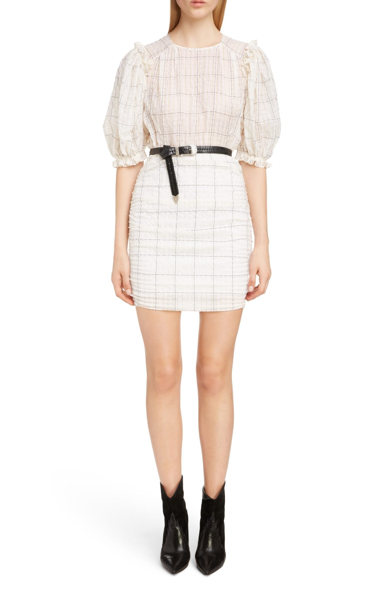 ISABEL MARANT Check Print Organza Ecru Dress