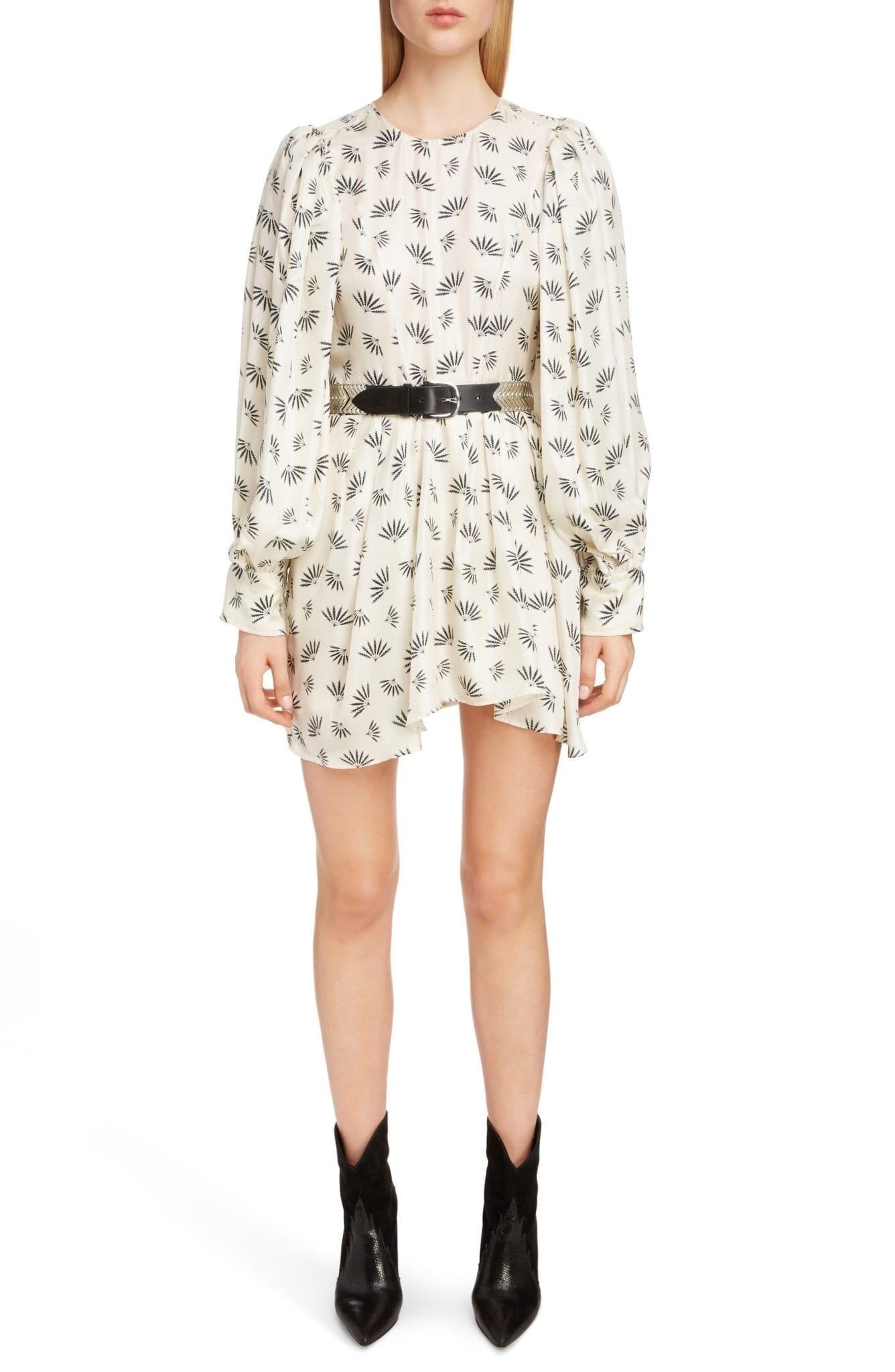 ISABEL MARANT Fan Print Silk Ecru Dress