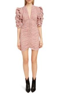 ISABEL MARANT Print Silk Puff Sleeve Pink Dress