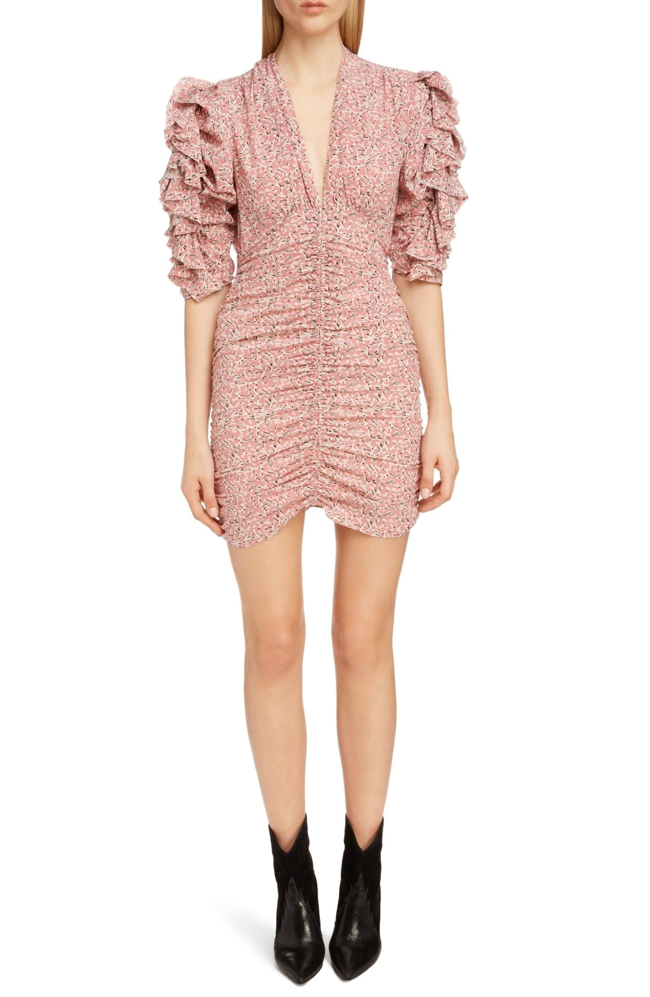 ISABEL MARANT Print Silk Puff Sleeve Pink Dress