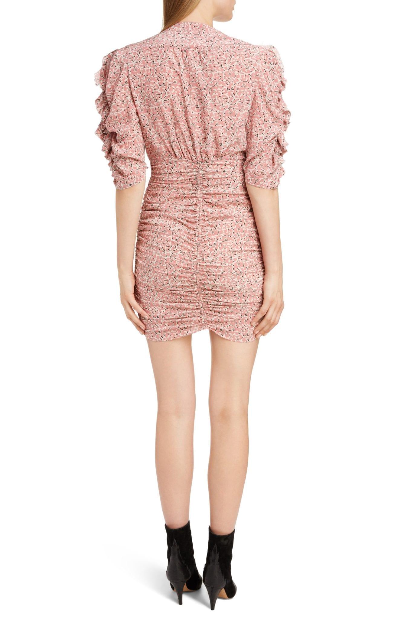 15a5552a91f ISABEL MARANT Print Silk Puff Sleeve Pink Dress - We Select Dresses